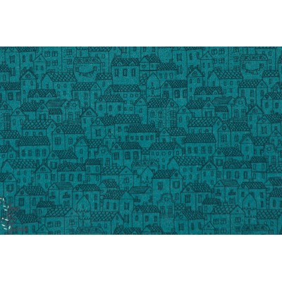 tissu coton couture Popeline Little Town Turquoise Tissus de INDIGO fabricsPopeline Little Town Turquoise