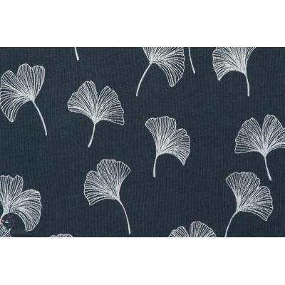 Jersey laine coton bio Woljersey Ginkgo , navy bleu lillestoff susalabim