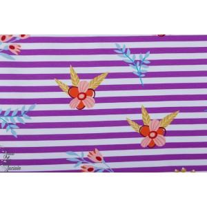 Jersey hamburger Liebe Fleur sur Rayures violet