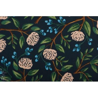 Popeline CS Wilwood Peonies navy fleur pivoine marine cotton steel