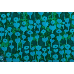 Rayon cotton Steel Once upon a time Love Flower Azur