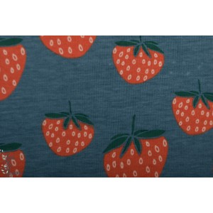 Jersey Bio Strawberries Blue Elvelyckan Design