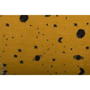 jersey Bio Space Ochre Elvelyckan Design espace ciel lune mourtarde