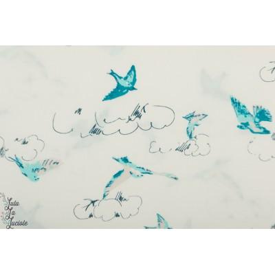Popeline AGF Summer Dance  - Everlasting oiseau ciel