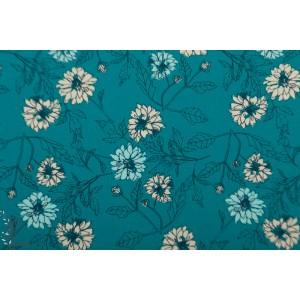 Popeline AGF Something Blue fleur bleu everlasting
