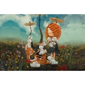 Panneau Jersey fillette et oie Stenzo animaux rousse tendre