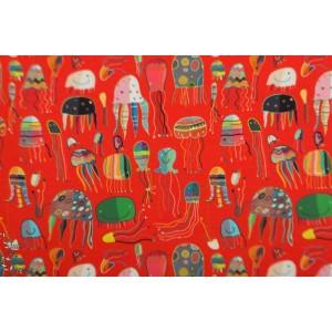 Jersey Digital méduses fond rouge graphique mer couleur stenzo