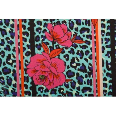 Modal Sweat leoflower Blau Lillestoff fleur leopard retro bleu enemenemeins