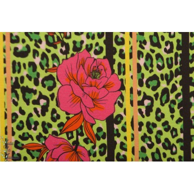 Modal Sweat Leoflower grun Lillestoff leopard vert enemenemeins fleur