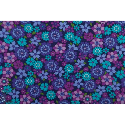 jersey tiny and beautiful lilas - Vintage in my heart - bleu violet fleur retro mode femme
