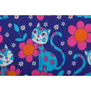 jersey Lovecats turquoise Pink - vintage in my heart
