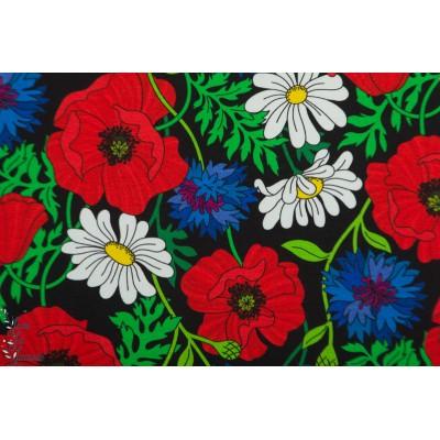 Jersey Midsummer Black Vintage in my heart coquelicot ete mode femme fleur