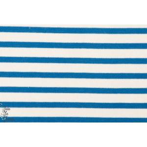 Sweat coton  Molleton rayé écru bleu Kiyohara, mariniere enfant fille garçon adulte.