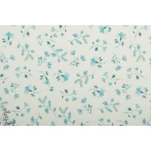 jersey Vintage Flower Family Fabric fleur retro bleu
