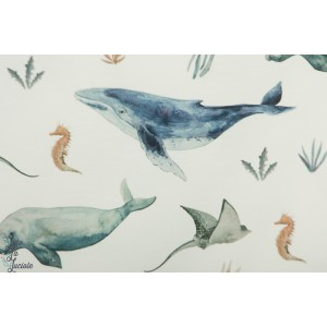 Jersey Deap Sea Family Fabrics livre science animaux mer baleine retro