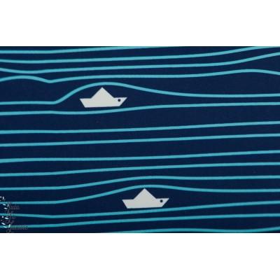 Softshell bateau sur l'eau manteau impermeable graphique bleu mer enfant