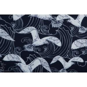 Crepe de viscose seagull Palina oiseau mer mouette graphique bleu