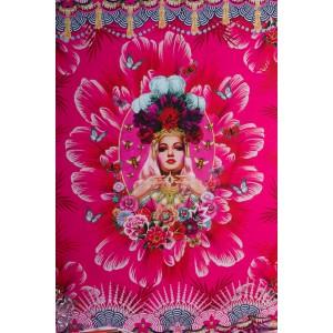 Panneau jersey Fiona Hewitt la fille au papillon rose fleur vintage