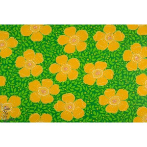 Jersey Betty green/Yellow Vintage in my heart grosse fleur jaune vert