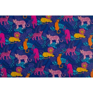 Jersey Junglecats turquoise Vintage in my heary retro animaux chat felin lion jungle bleu rose