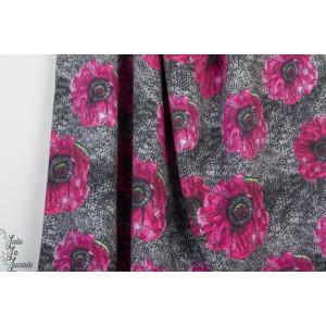 Modal Sweat Graue Masche lillestoff anemone fleur maille gris rose femme