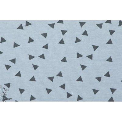 tissu couture coton Jersey Triangles sur fond  bleu géométrique denin