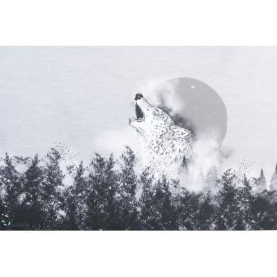 Panneau Jersey Bio Mystical Wolf Lillestoff loup sauvage forêt garçon