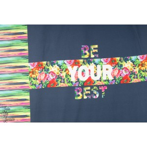 Panneau jersey Be your Best marine fleur ottobre design