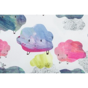 Popeline Bio Curious Cumulus Story of roo nuage couleur aquarelle poetique