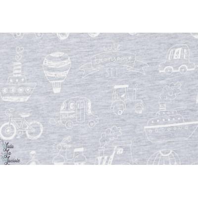 tissu coton couture bio Jersey Transports Gris blanc garçon enfant