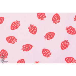 tissu couture Jersey Bio STENZO  Fraise rose sur rose fille enfant