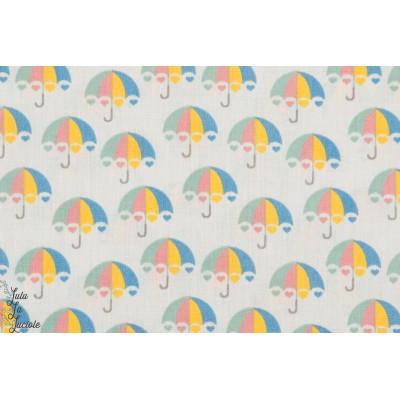 Tissu popeline Coton Umbrella Gris parapluie géométrique