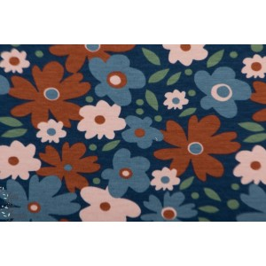 Jersey Bio Miniflora  Bleu Elvelyckan design fleur retro vintage mode femme