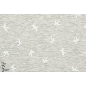 Tissu Sweat Polaire oiseaux gris