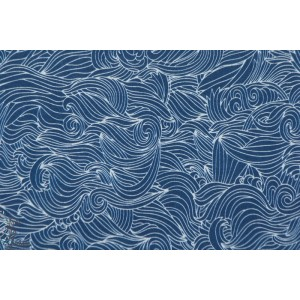 tissu coton fin Batiste Voile Waves Bleu vagues mer