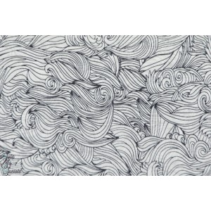 tissu coton bio voile très fin Batiste Waves fond blanc vague mer, blanc