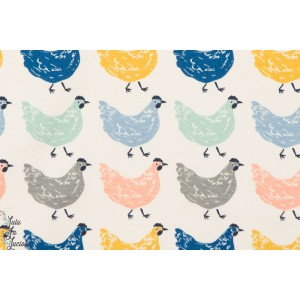 Jersey coton Bio Homestead  poules birch enfant couture