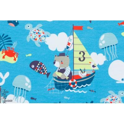 tissu coton Jersey Kimi ours pêcheur enfant mer bateau bébé