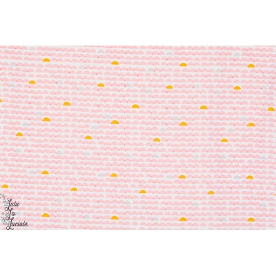 tissu coton bio coutute Popeline Glint Pont rose cloud9