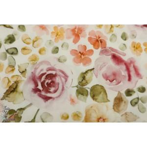 Popeline Family Fabrics English Garden rose retro fleur vintage