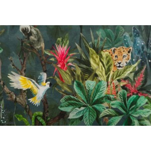 Jersey Family Fabrics Jungle animaux vert sauvage nature