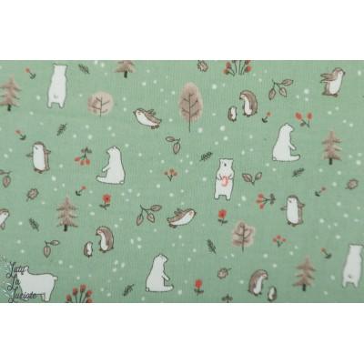 Velours Hilco Winter layette fine cote  vert celadon bébé hiver animaux