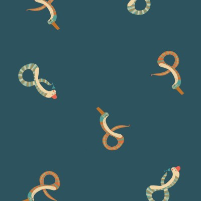 Tissu imperméable  Snake's Party serpent fakir pluie petrole katia