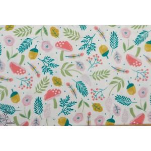 Popeline Katia Fox Forest Floor fleur bois suavage champignon