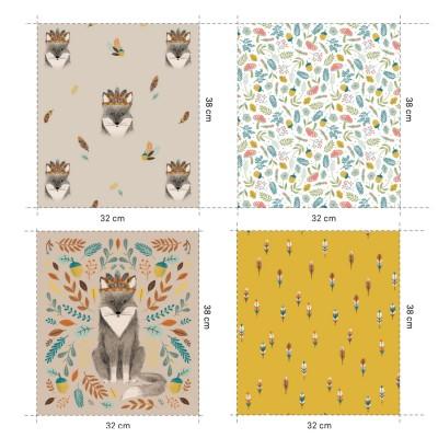 Panneau Popeline  Fox Panel renard plume fleur bois champignon