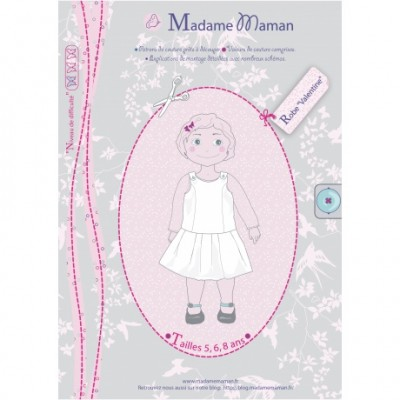 Patron Robe Valentine 5-6-8 ans enfant fille Madame Maman