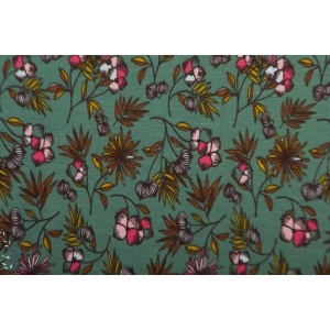 jersey modal  mix of flowers mode femme fleur vert autonme