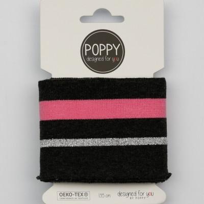 Cuff Poppy 6564 lurex Noir rose