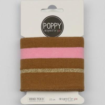 Cuff Poppy 6564 Lurex MARON ROSE bord cote rayé
