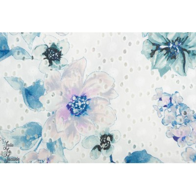 Popeline brodée texturé fleur bleu